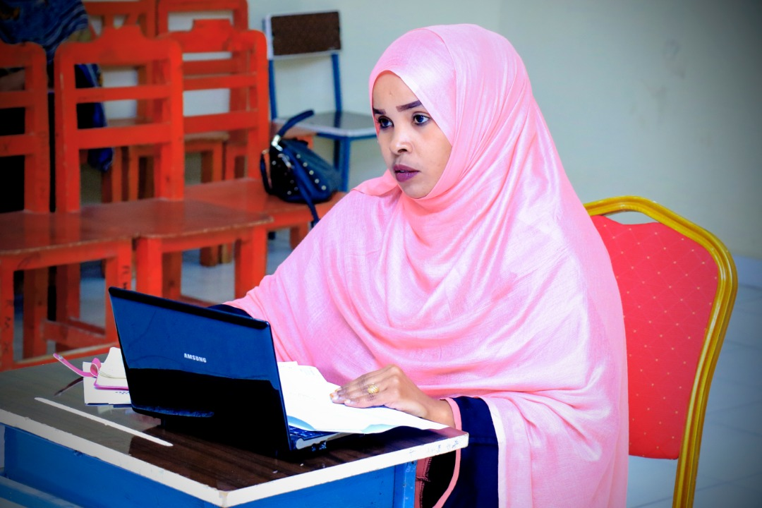 A student responding to questions from the panelists, at Amoud University School of Postgraduate Studies and Research (ASPGSR), during the Research Proposal Viva Voce conducted on Tuesday, January 28th, 2020 at Amoud University School of Postgraduate Studies and Research (ASPGSR), Borama Campus premises.